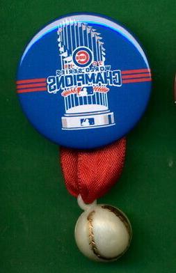 "2016 World Series Chicago CUBS  PIN ""CHAMPS 1-3/4"" w/ Baseba"