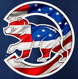 3 Chicago Cubs USA Stars Stripes Waterproof Vinyl Stickers 3