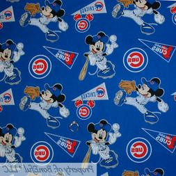 BonEful FABRIC FQ Cotton Quilt MLB Baseball Chicago Cubs Dis