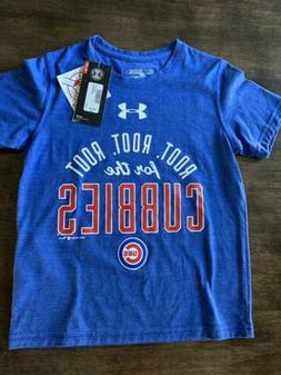 Boys Under Armour Loose CHICAGO CUBS T-Shirt Youth Small Roo