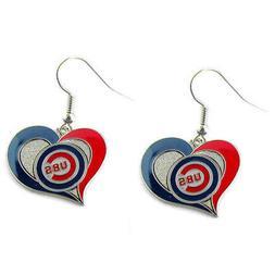 Brand New MLB Chicago Cubs Swirl Heart Earring Dangle Charm
