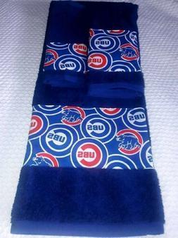 Chicago Cubs 3 Piece Bath Towel Set Handmade Great Gift!!