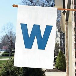 """Chicago Cubs 44"""" x 28"""" """"WIN"""" Applique and Embroidered 2-Side"""