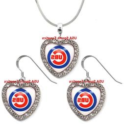 Chicago Cubs 925 Necklace / Earrings or Set Team Heart With