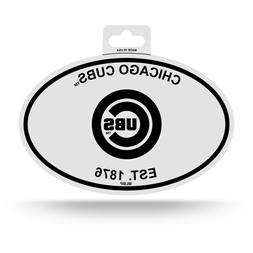 """CHICAGO CUBS BLACK AND WHITE OVAL DECAL STICKER 4""""x 6"""" EST."""
