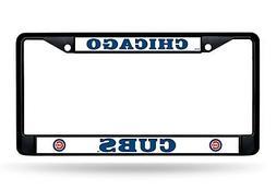 Chicago Cubs BLACK Frame Chrome Metal License Plate Tag Cove