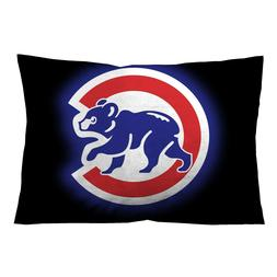 "CHICAGO CUBS BLACK Throw Pillow Case 16"" x 24"" and 18"" x 26"""