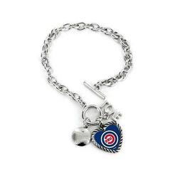 Chicago Cubs Charmed Bracelet Love & Football  MLB Wrist Jew