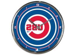 "CHICAGO CUBS CHROME 12"" ROUND WALL CLOCK MLB BASEBALL MAN CA"