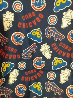 """CHICAGO CUBS COTTON Fabric 1/4 yard,9""""X44"""" COOPERSTOWN DIY M"""