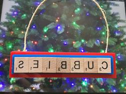 Chicago Cubs Cubbies Christmas Ornament Scrabble Tiles Magne