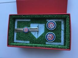 CHICAGO CUBS CUFFLINKS & TIE BAR, NEW IN ORIGINAL BOX