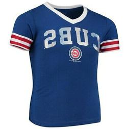 New Era Chicago Cubs Girls Youth Royal Baby Jersey V-Neck T-
