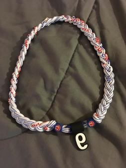 "Chicago Cubs JAVIER BAEZ #9 Triple Rope Team Necklace 22"" FA"