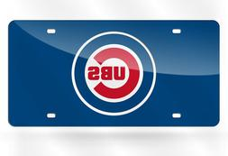 Chicago Cubs License Plate Mirrored Acrylic Bullseye Blue