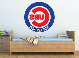 CHICAGO CUBS Logo Wall Decal w/ Your Name or Original Wordin