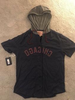 Chicago Cubs Men's Medium Button Down Hoodie Baseball Shirt