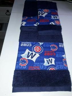 Chicago Cubs MLB 3 Piece Bath Towel Set Handmade Great Gift!