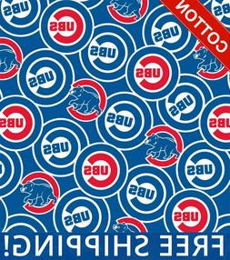 "Chicago Cubs MLB Cotton Fabric - 58"" Wide - Style# 6684 - Fr"