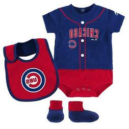 "Chicago Cubs Newborn/Infant ""Tiny Player"" 3-Piece Creeper, B"