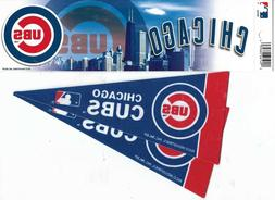 CHICAGO CUBS ONE BUMPER STICKER  + TWO MINNI PENNANTS