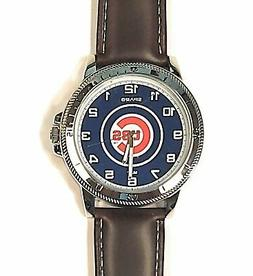 Chicago Cubs Premium Classic Logo Mens Watch Brown Leather B