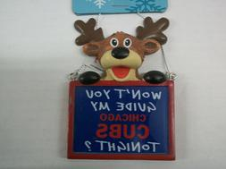 CHICAGO CUBS RAINDEER CHALKBOARD ORNAMENT