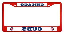 Chicago Cubs RED Bold Design Chrome Frame Metal License Plat