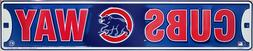 "CHICAGO CUBS STREET SIGN 24"" X 5"" EMBOSSED METAL CUBS WAY RO"