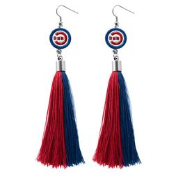 Chicago Cubs Tassel Earrings MLB Authentic Made by Little Ea