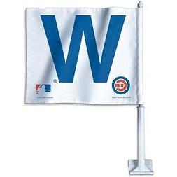 CHICAGO CUBS W ~ Official MLB W Win Auto Car Flag with Pole