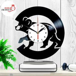 Chicago Cubs Wall Clock World Series Vinyl Record Baseball H