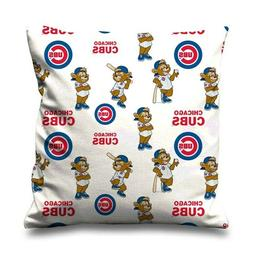 "CHICAGO CUBS WHITE LOGO Throw Zippered Pillow Case 16"" 18"" 2"