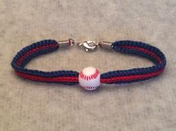 Chicago Cubs Women's Blue & Red Handmade Bracelet W/ Acrylic