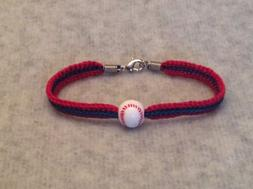 Chicago Cubs Women's Red & Blue Handmade Bracelet W/ Acrylic