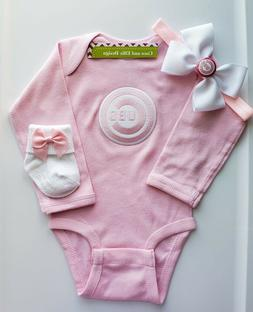 Cubs infant/baby girl 3pc outfit Cubs baby gift girl Cubs pi
