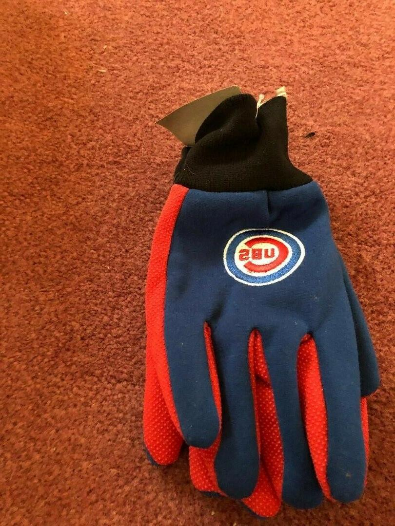 a pair of chicago cubs utlity gloves
