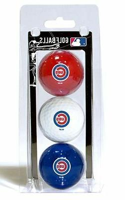 Chicago Cubs 3 Pack Golf Balls  MLB White Golfing Pk Ball CD