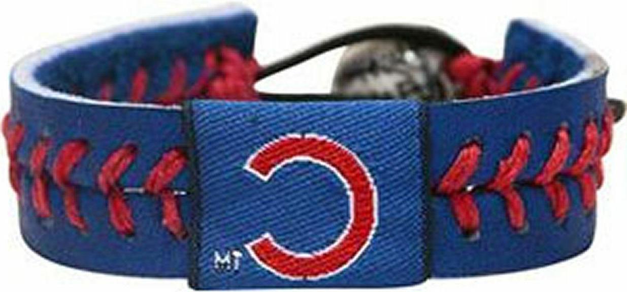 chicago cubs leather wrist bracelet blue