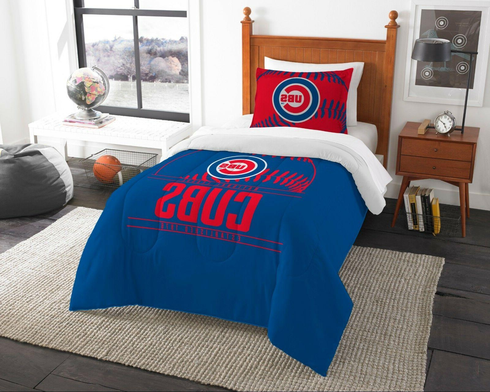 chicago cubs twin comforter and sham set