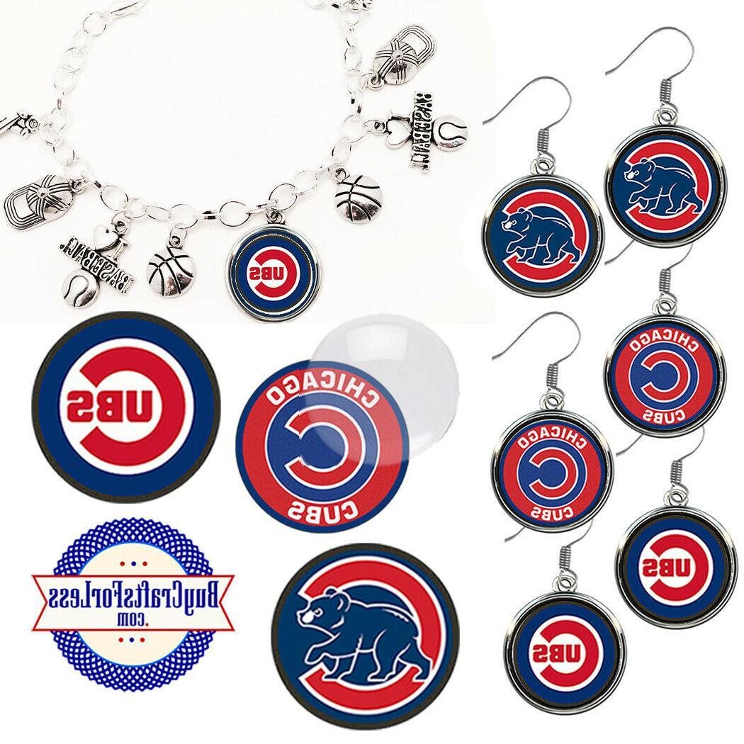 free design chicago cubs earrings pendant bracelet
