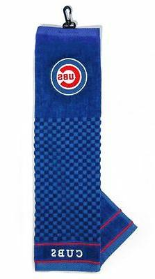 """MLB Chicago Cubs Golf Towel Embroidered Tri-Fold 16"""" x 25"""" C"""