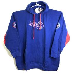 Majestic Mens Chicago Cubs Embroidered Hoodie Sweatshirt Blu