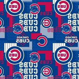 MLB Baseball Chicago Cubs Squares New 2018 Blue Cotton Fabri