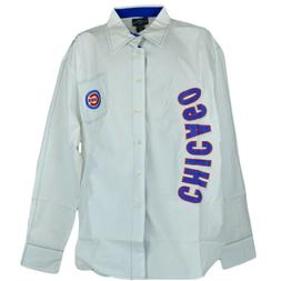 MLB Bent Chicago Cubs Mens Long Sleeve Button Up Collar Dres