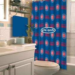 """MLB Chicago Cubs 72"""" x 72"""" Polyster Shower Curtain Durable E"""