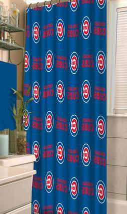 "MLB CHICAGO CUBS Fabric Shower Curtain 72"" Baseball Fan Bath"