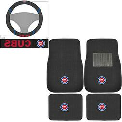 New 5pc MLB Chicago Cubs Car Truck Floor Mats & Steering Whe