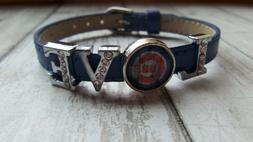 NEW Chicago Cubs baseball 8mm blue leather slide charm brace