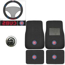 MLB Chicago Cubs Car Truck Carpet Floor Mats Steering Wheel
